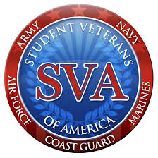"The Student Veterans of America logo consisting of a blue circle with a vertical laurel leaf crown opening at the top and a rising sun denoted by alternating blue striped radiating lines with the horizon in the middle of the circle displayed in shades of blue within it, a red ring frames the blue circle with seven red stars on the upper arch and alternating red-colored stripes on the bottom arch. 'Student Veterans' follows the arch on the top half of the blue inner circle with 'of America' following the bottom arch all in white capitalized letters. 'SVA' is centered on the blue circle in red, capitalized letters and a white outline. In the red circle, 'Army' and ""Navy"" appear in white font covering the last two stars on the left and right of the top arch. 'Air Force', 'Coast Guard', and 'Marines' are equally spaced along the bottom curve of the red ring also in white font."