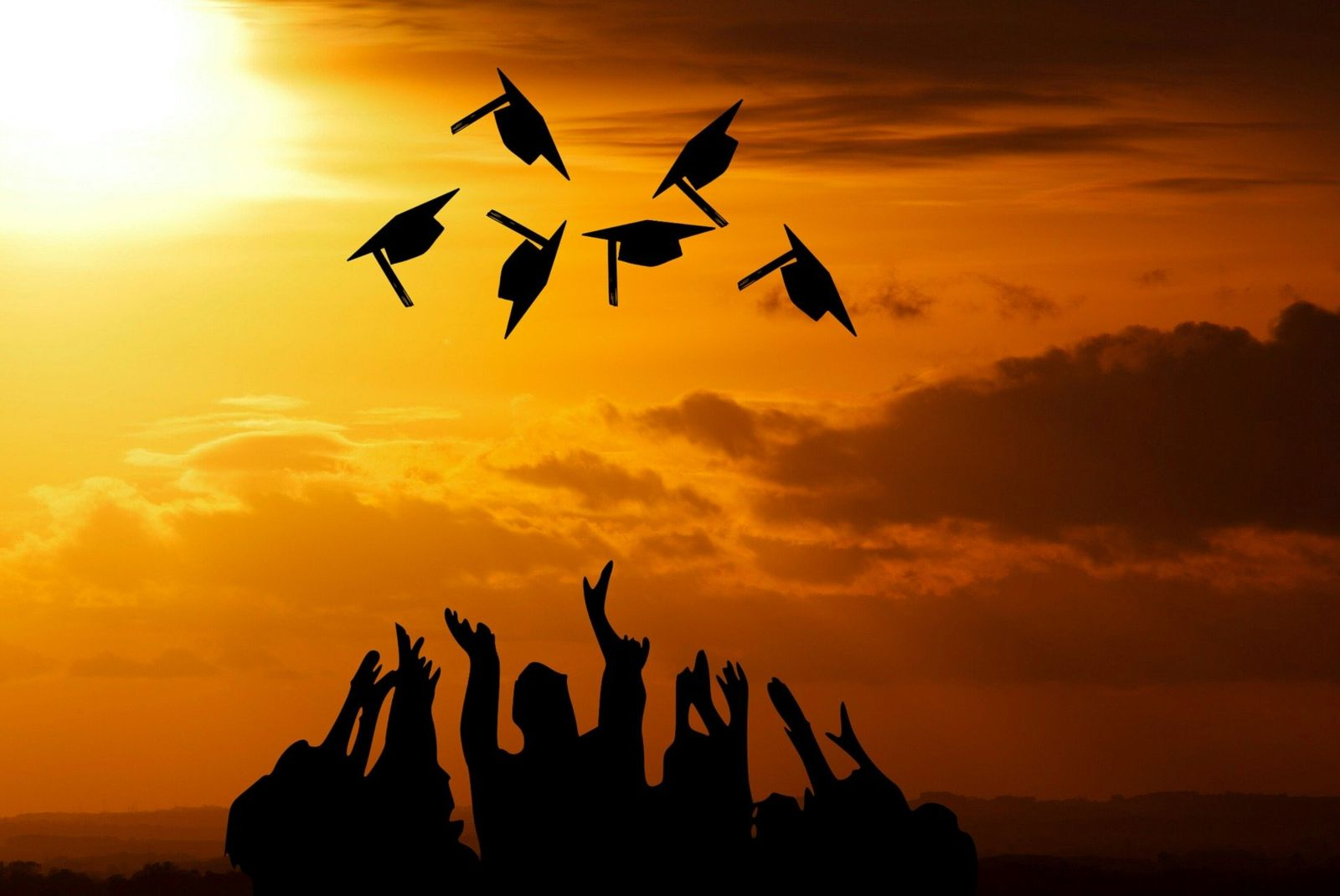 A forest green, hyperlinked, button labeled Diplomas in white, bolded, underlined text with an image of six graduates stand silhouetted in black against a sunrise/sunset with a golden-orange, cloudy sky while throwing their graduation caps in the air.