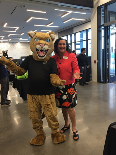 The Augusta Tech Cougar and Dr. Melissa Frank-Alston